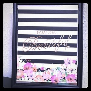 You are Beautiful stripes floral inspo frame art